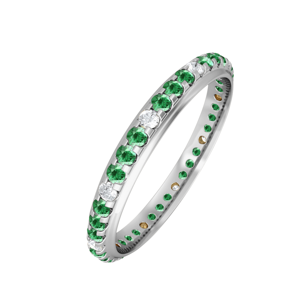 Treasure Box Eternity Band Emerald 18kt White Gold