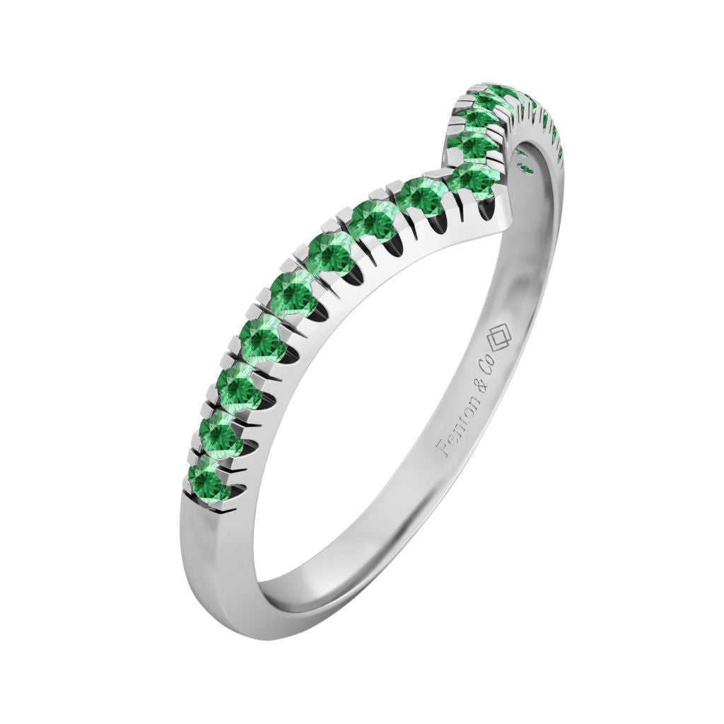 Treasure Box Chevron Band Emerald 18kt White Gold