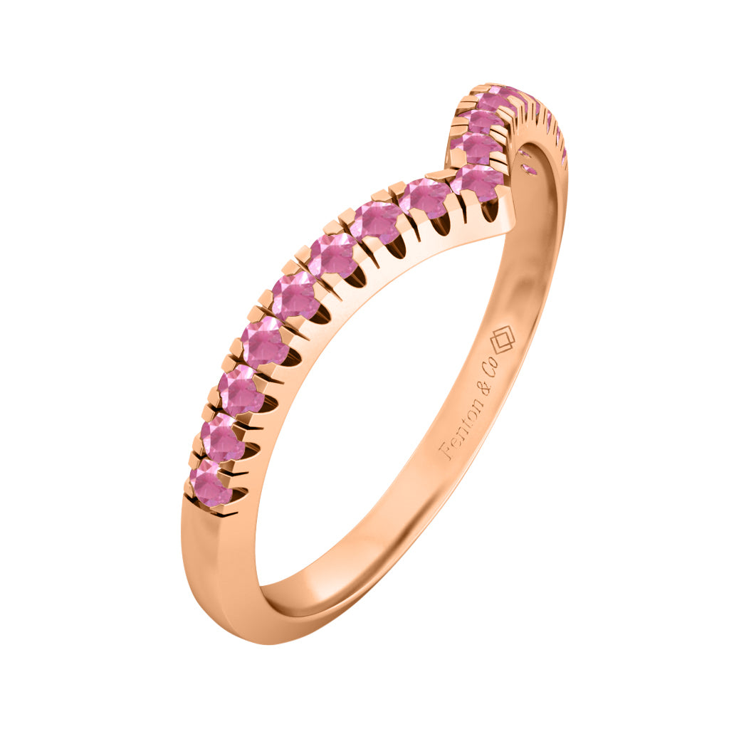 Treasure Box Chevron Band Pink Sapphire 18kt Rose Gold