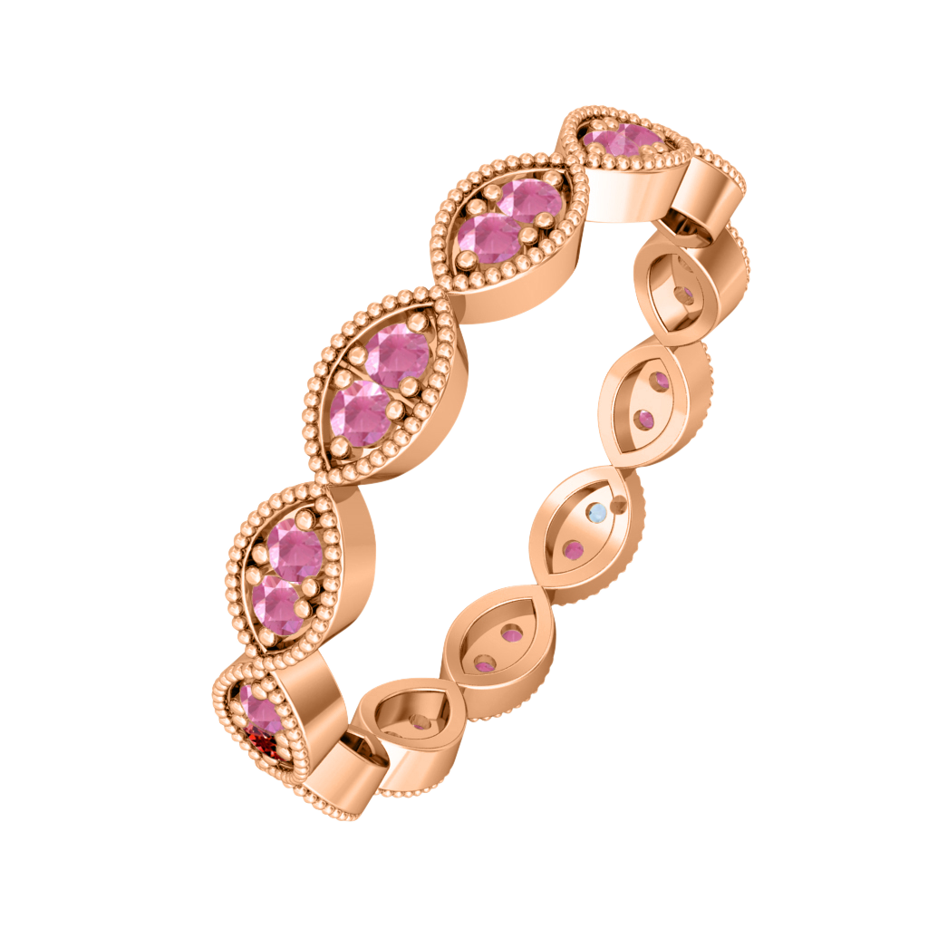 Treasure Box Laurel Band Pink Sapphire 18kt Rose Gold