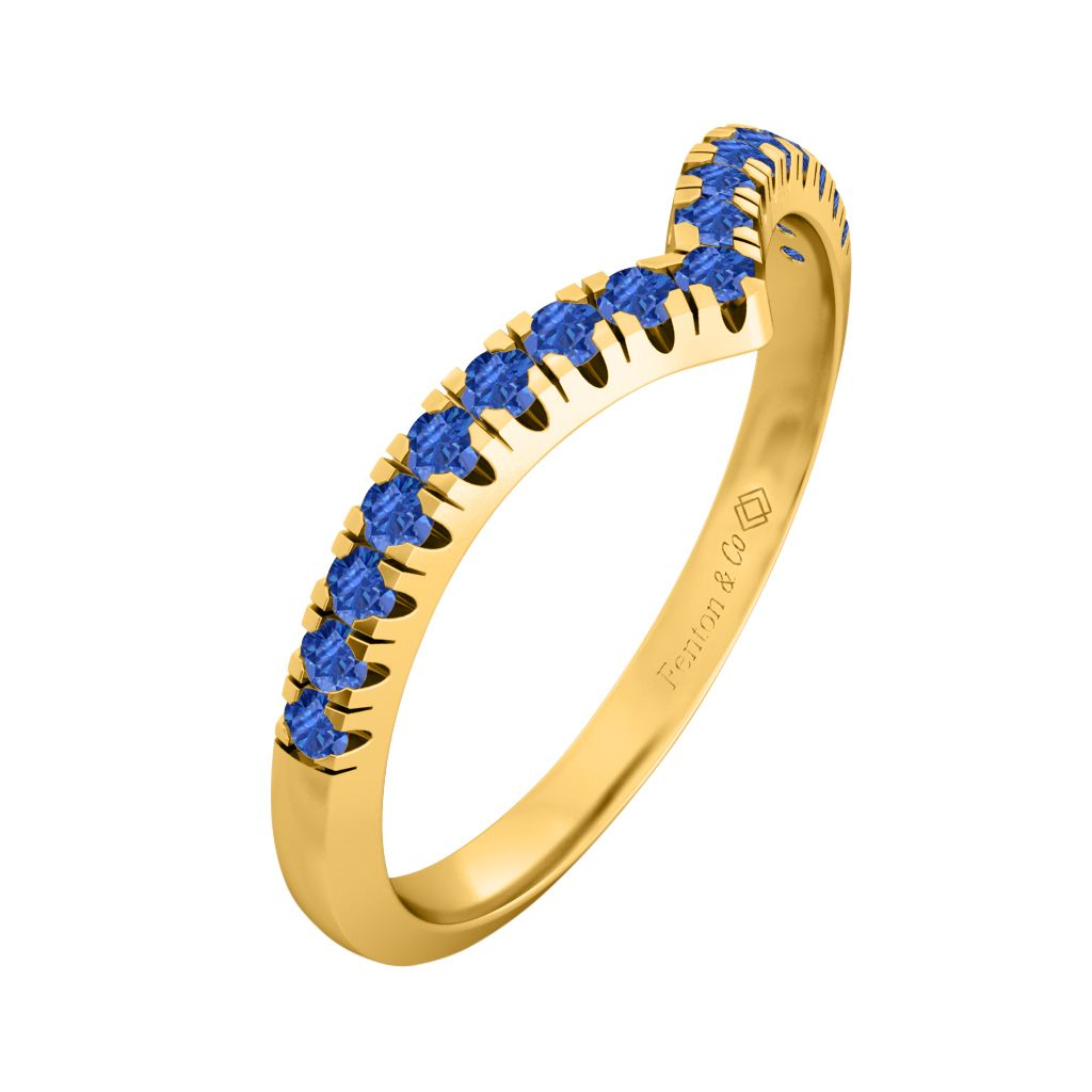 Treasure Box Chevron Band Blue Sapphire 18kt Yellow Gold