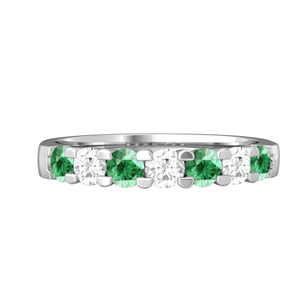 Treasure Box Seven Stone Band Emerald 18kt White Gold