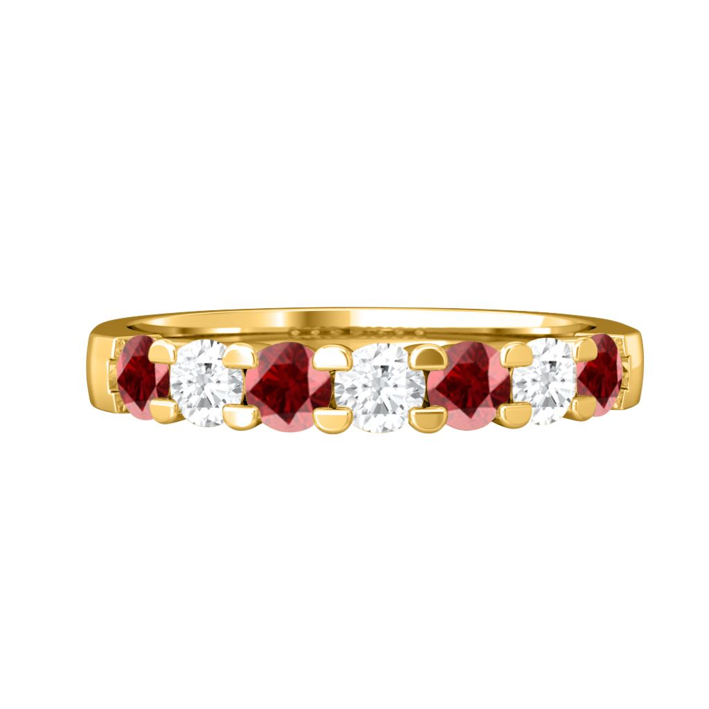Treasure Box Seven Stone Band Ruby 18kt Yellow Gold
