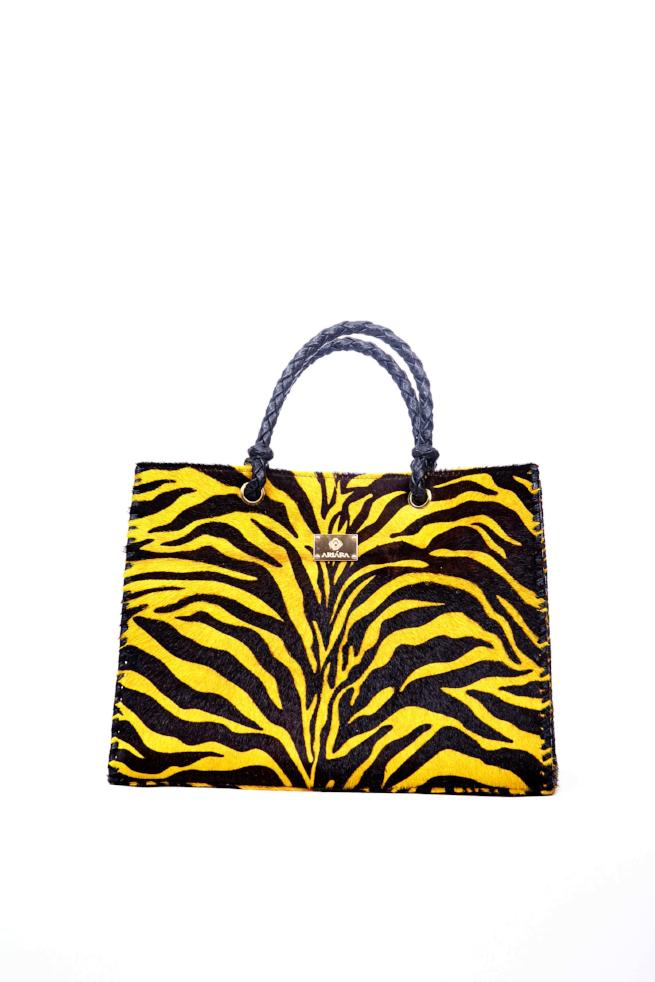Zebra animal print mohair bag