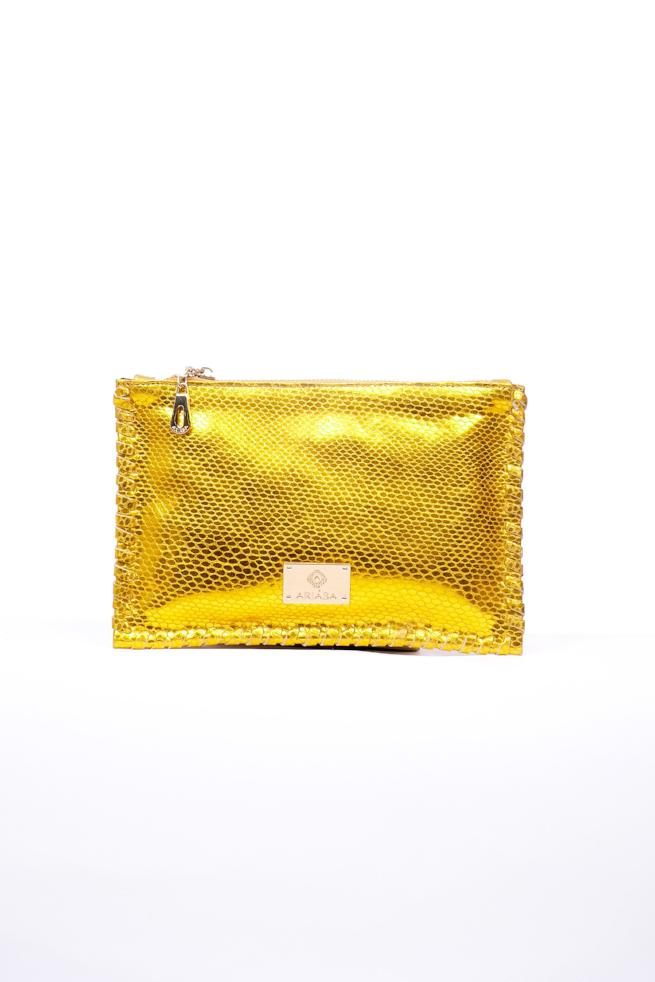 Metallic handstiched leather Clutch
