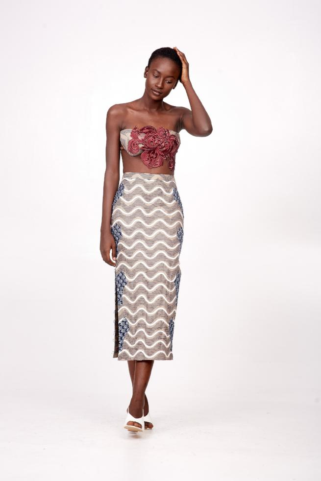 Ankara Midi Skirt with Side Buttonhole-loop Details