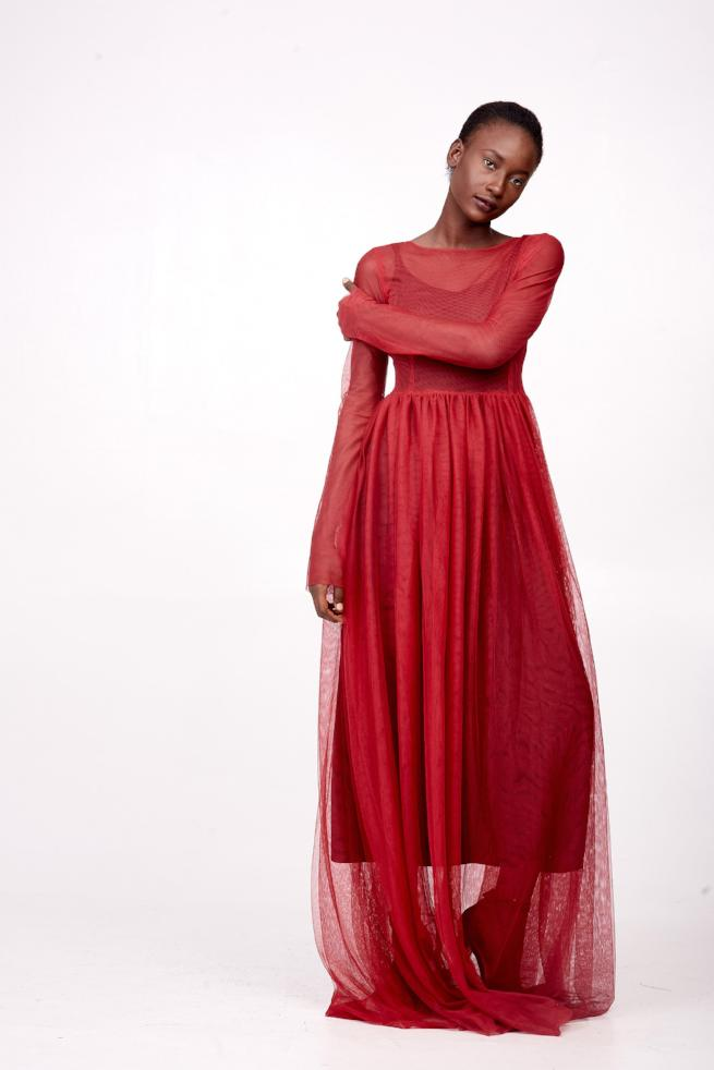 Red Sheer Maxi Dress with long sleeves