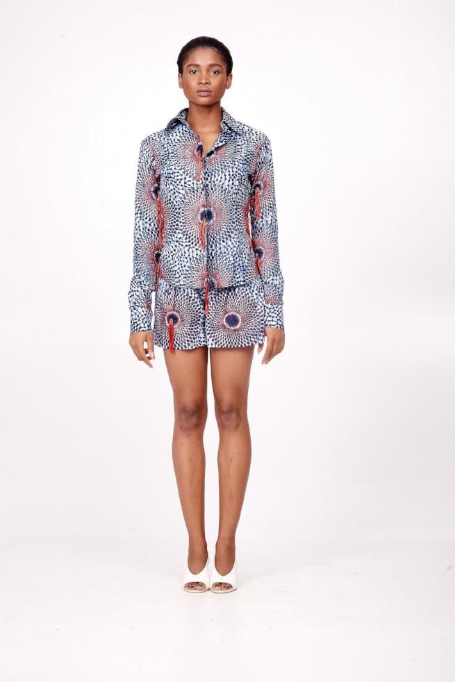 African Print Shorts with Tassel Details