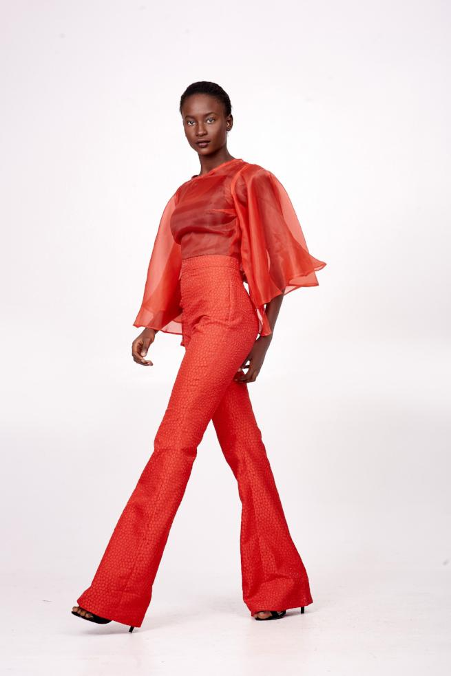 Red Organza Jumpsuit