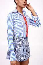 Blue/White Striped Shirt with Red button Details