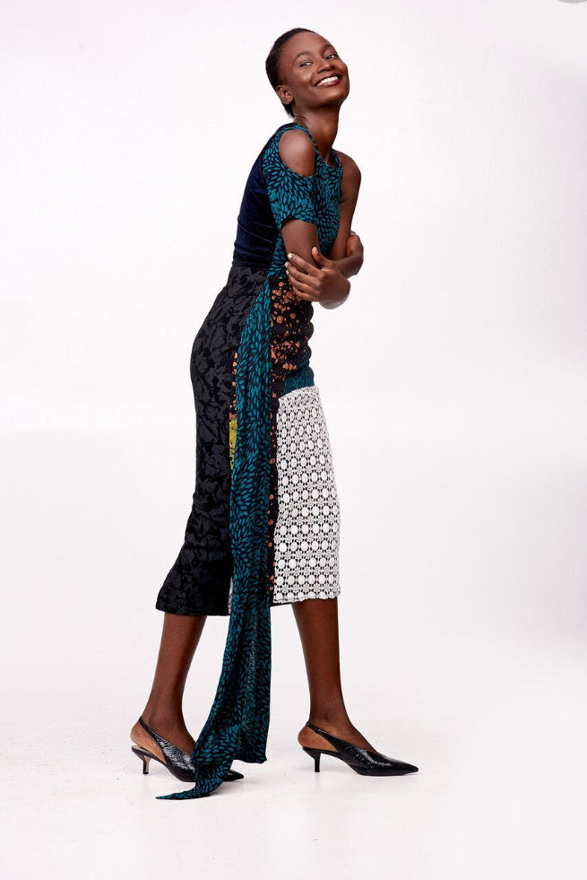 Rabiah Adire Mono-Sleeve Dress with Drape and Lace Detailing