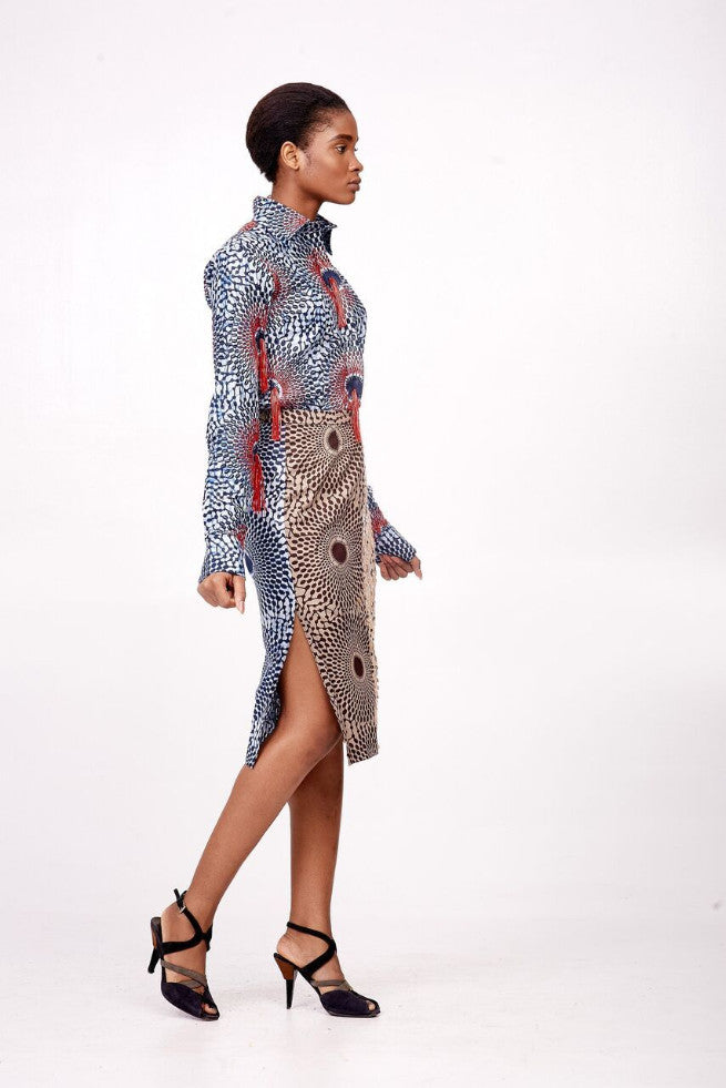 African Print/Sequin Skirt with Side Slit