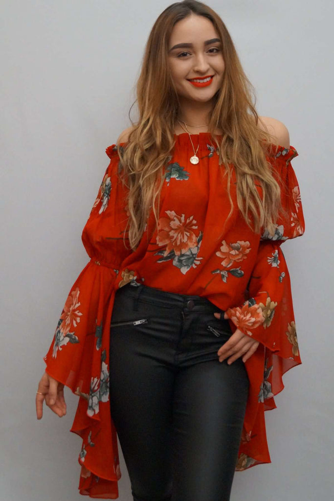 a78f13d80d8 Off the Shoulder Red Floral Print Bell Sleeve Top – LUVMEMORE