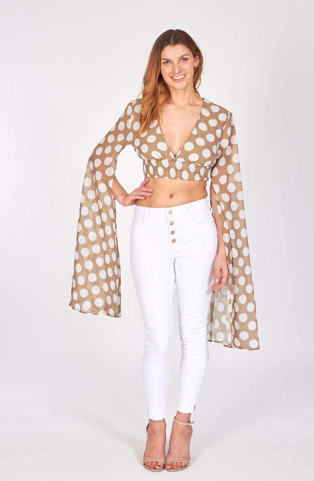 juniors - Beige Polka Dot