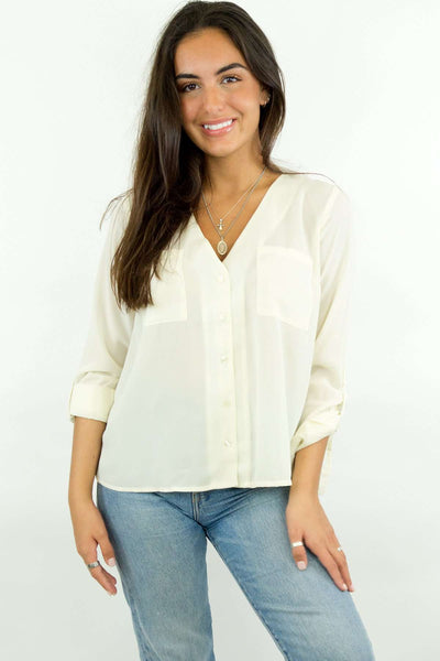 27a75761de0d Ivory V-Neck Roll-Tab Blouse – LUVMEMORE