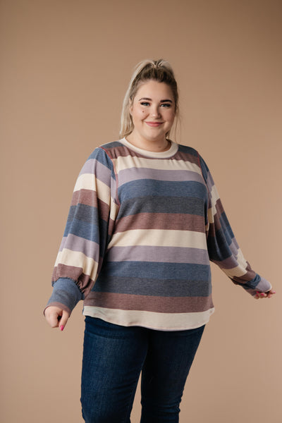 Balloon Sleeve Striped Top