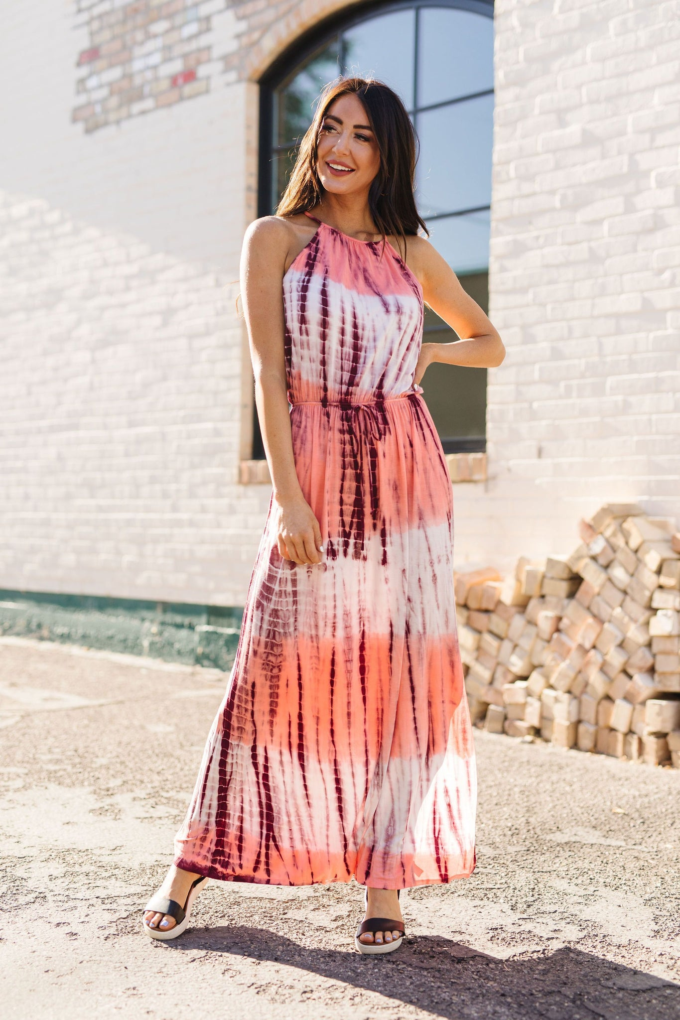 Bamboo Coral Halter Dress