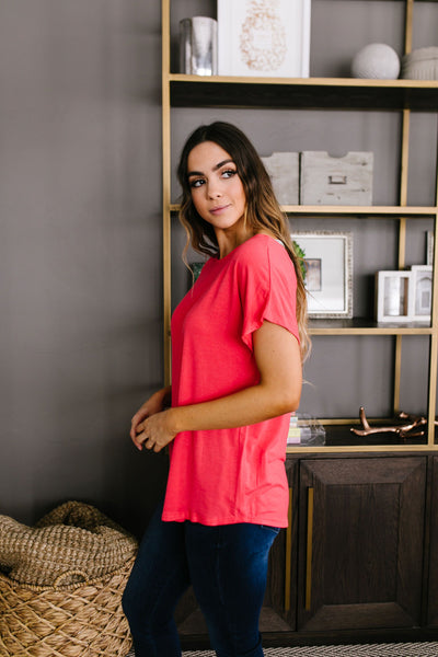 Behind My Back Tee In Coral