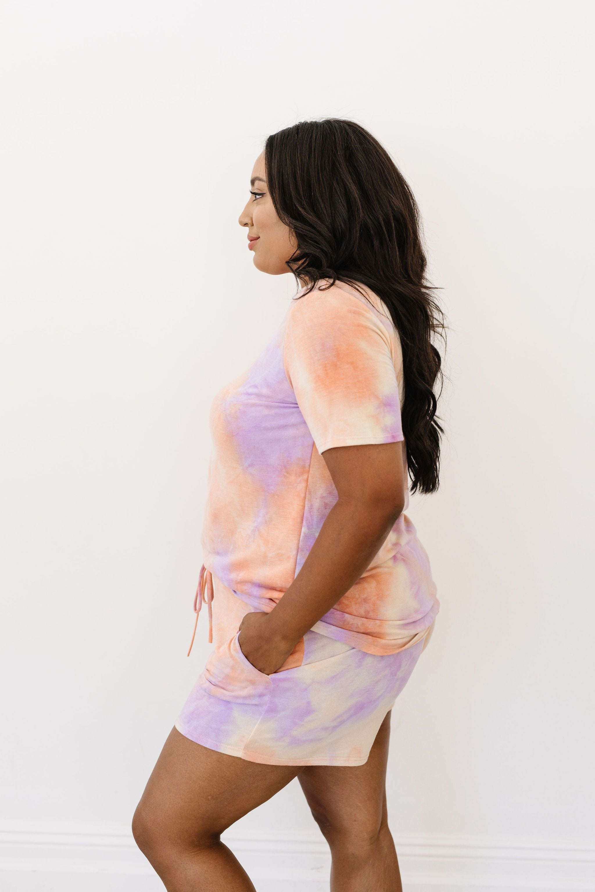 Brushed Knit Tie Dye Lounge Shorts In Coral