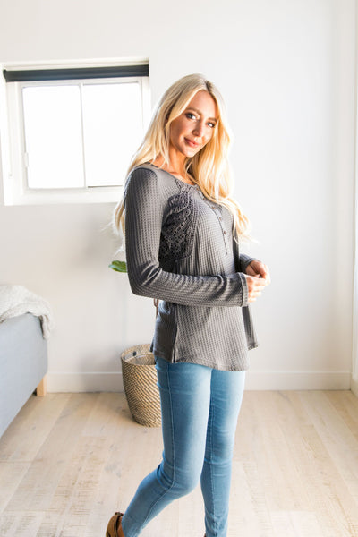 Heidi Lace Trimmed Henley In Charcoal