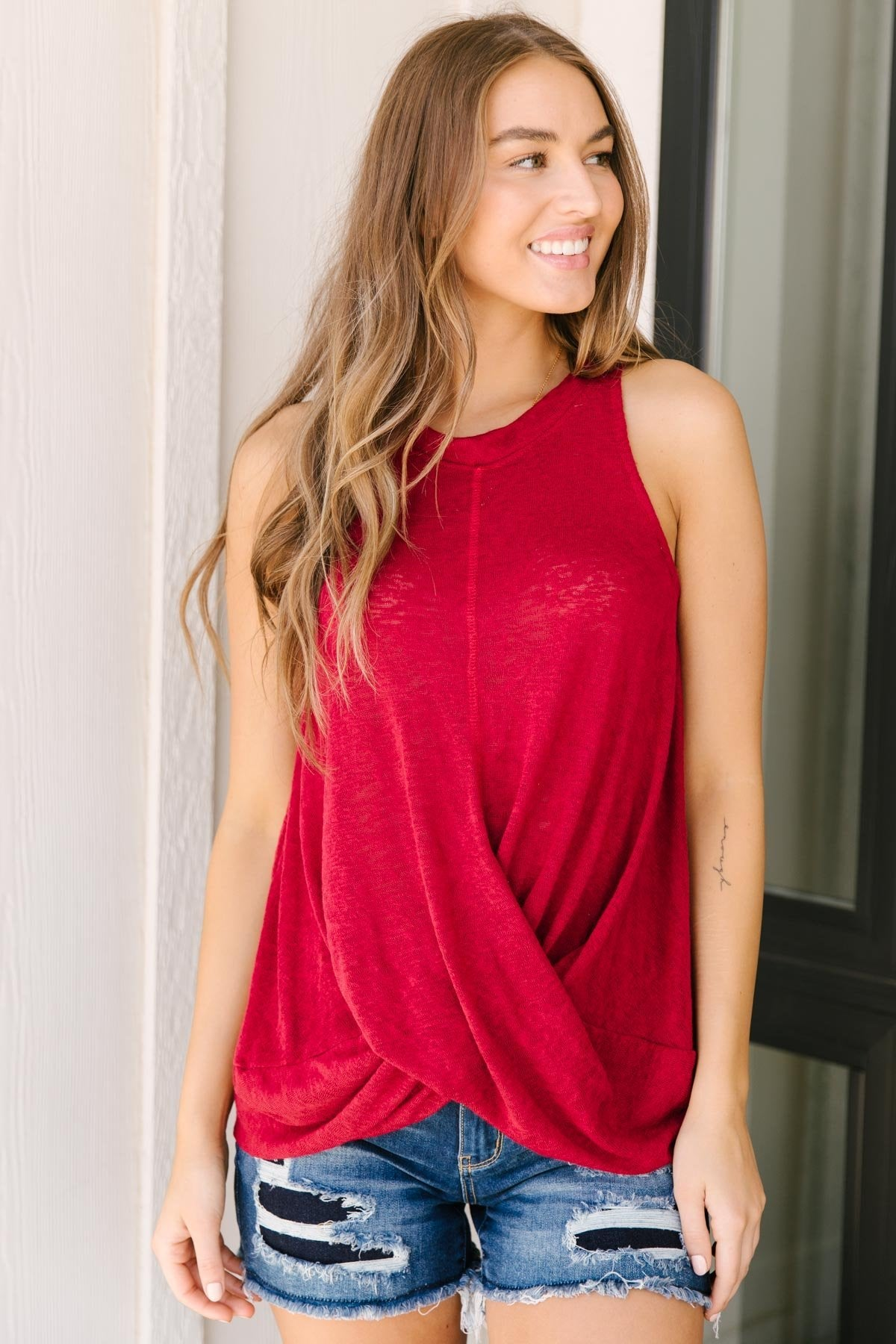 Knotted Hem Tank in Ruby Red