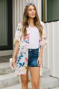 Lightweight Floral Kimono In Ivory