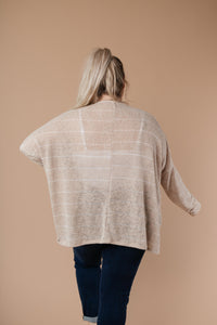 Lightweight Striped Pullover In Taupe