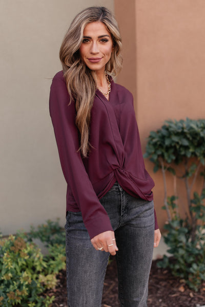 Office Miss Top in Burgundy