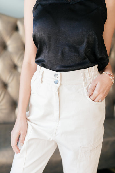 Peighton Paper Bag Pants in Ecru