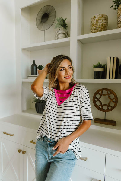Pink Neon Striped V Top
