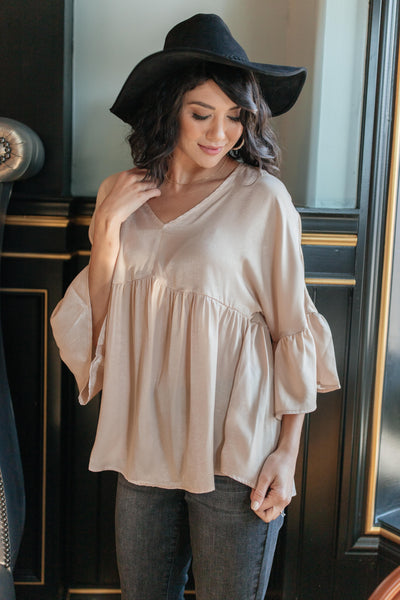 Salina Satin Top in Cream