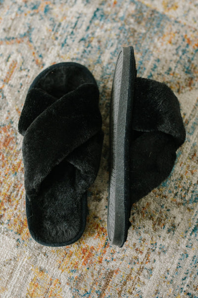 Toasty But Mostly Cozy Black Slippers