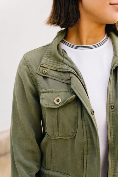 Atlas Tencel Anorak In Olive