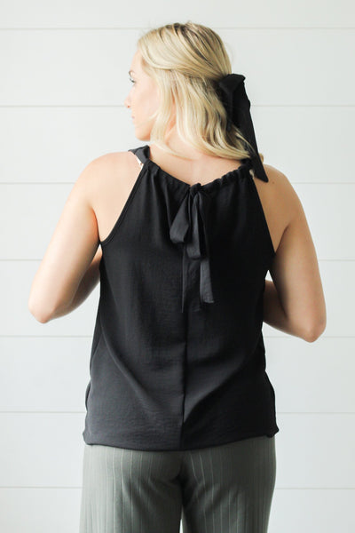 Back Me Up Black Halter Top