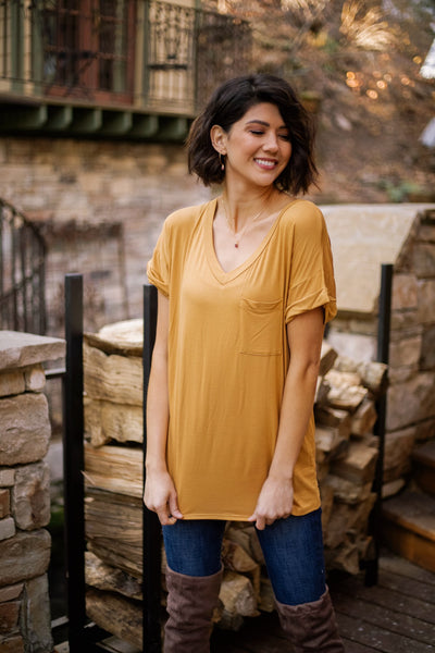 Basically Perfect V-Neck In Golden Bronze