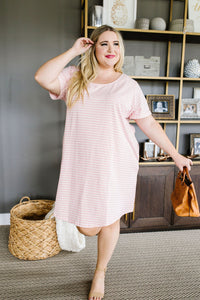 Buttoned To A T-Shirt Dress In Pink