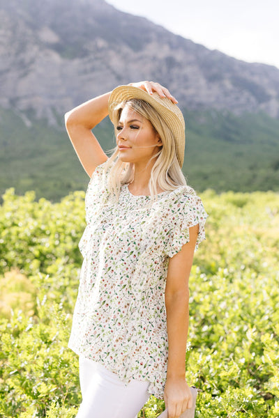 Cascading Ruffles Top In Ivory