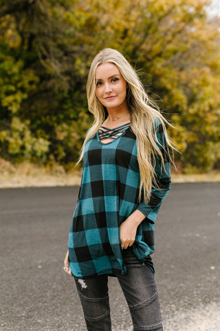 Checkered Criss Cross Top