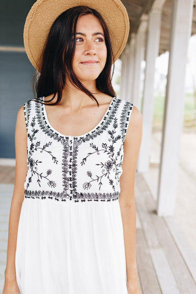 Embroidered Bodice Midi Dress
