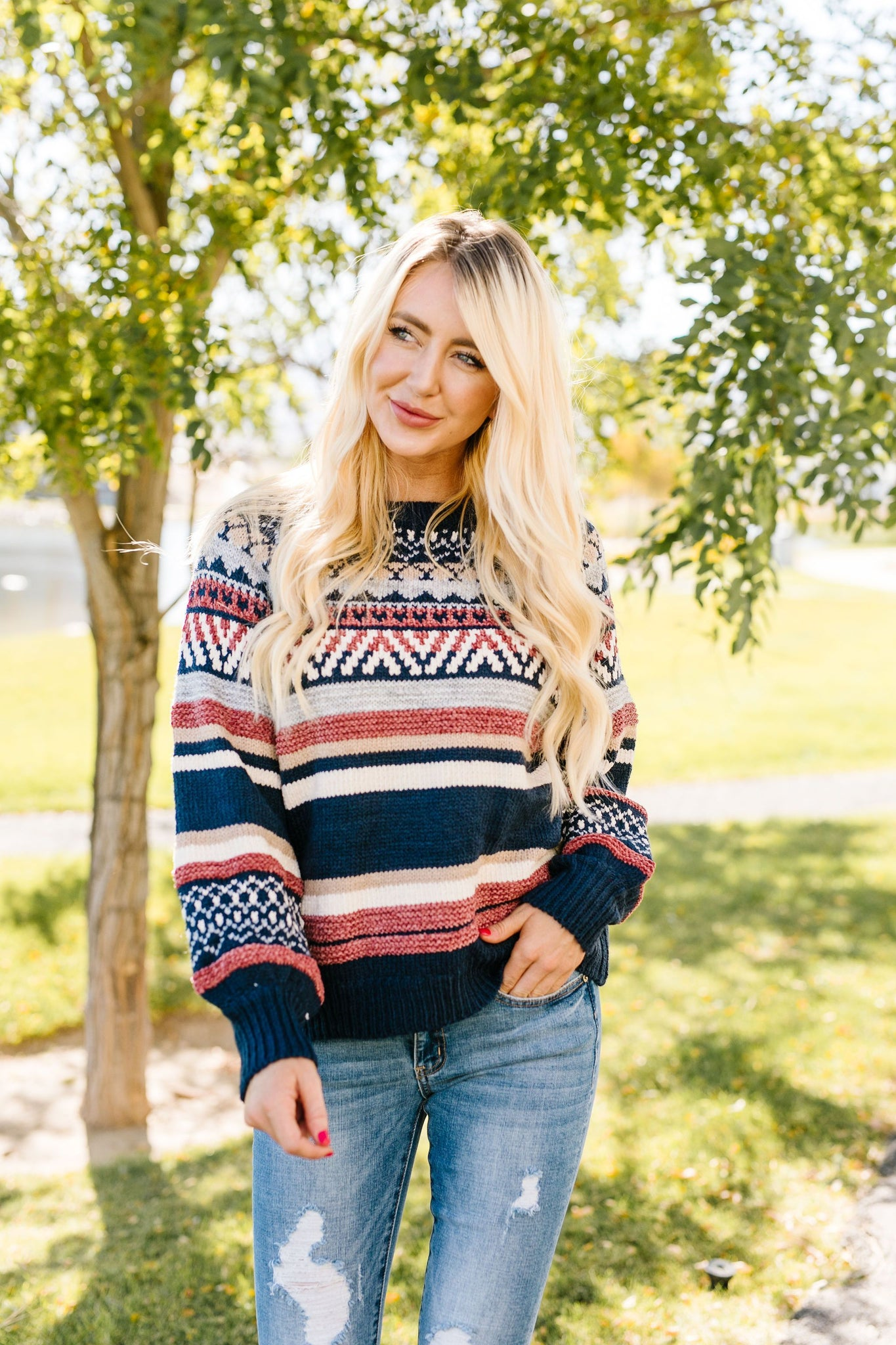 Geo-Knitting Striped Sweater