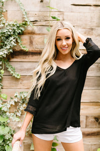 Just In Case Lace Trimmed Blouse In Black