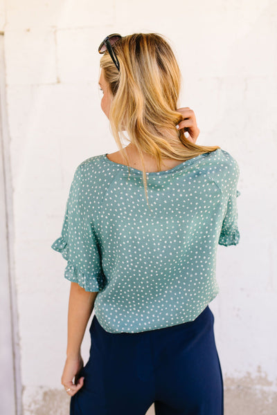 On The Spot Ruffled Sleeve Blouse