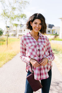 Pale Plaid Button-Down In Pink