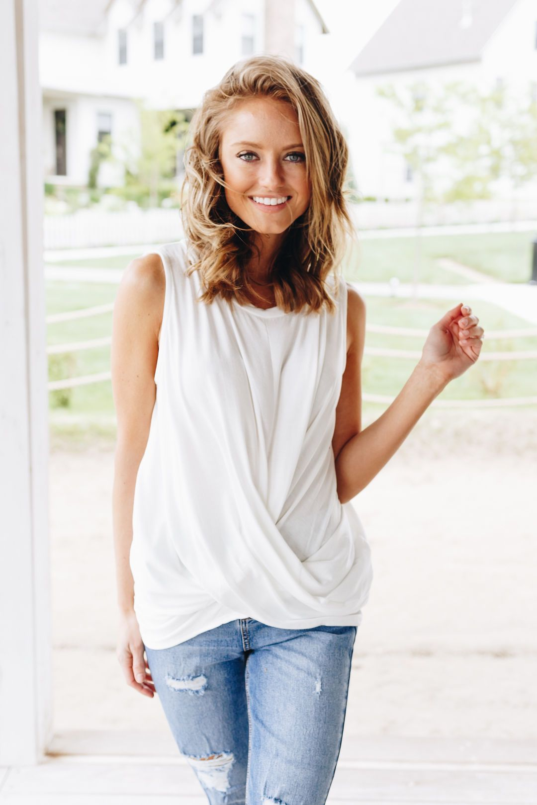 Sleeveless Twist And Cross Top In Ivory