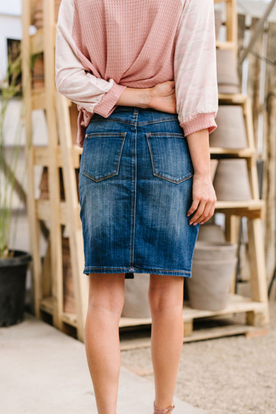 Judy Blue Split The Difference Denim Skirt