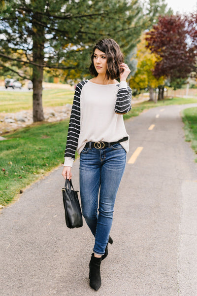 Suede Elbow Patch Raglan Sleeve Top
