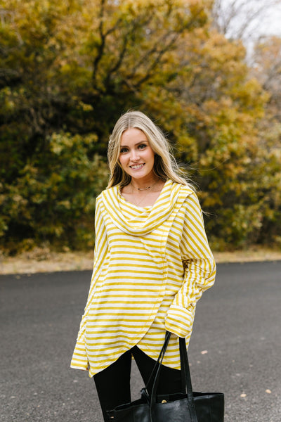 Sunshine Stripes Cowl Neck Top