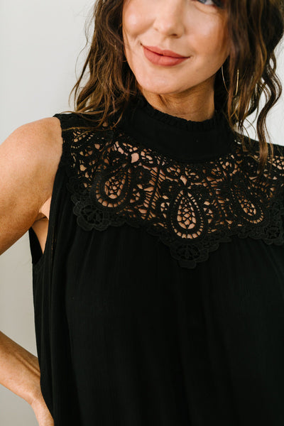 Victoria Lace Mock Neck Top In Black