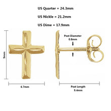 Gold Stud Earrings With Christian Cross - Full Details