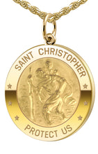 Saint Christopher Necklace - Medal Necklace In Round
